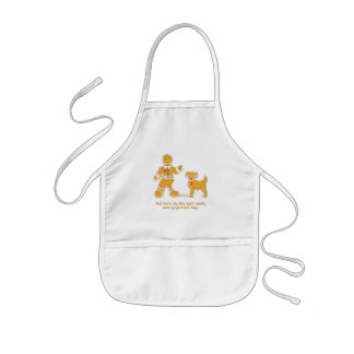 Funny Gingerbread Man and Dog for Christmas Kids' Apron