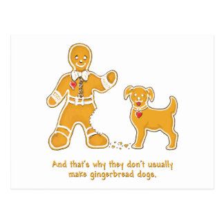 Funny Gingerbread Man and Dog for Christmas Postcard