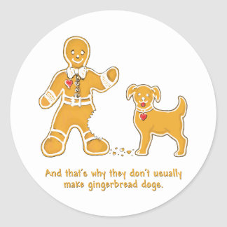 Funny Gingerbread Man and Dog for Christmas Stickers