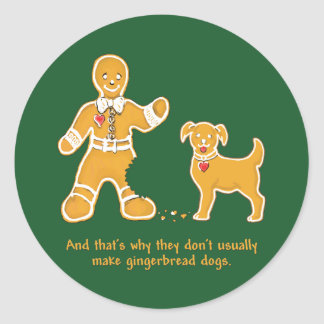 Funny Gingerbread Man and Dog for Christmas Round Sticker