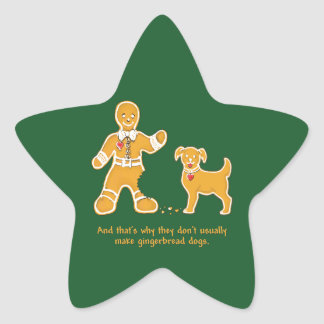 Funny Gingerbread Man and Dog for Christmas Star Sticker