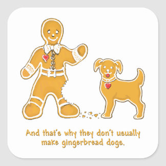 Funny Gingerbread Man and Dog for Christmas Square Stickers