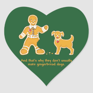 Funny Gingerbread Man and Dog for Christmas Heart Sticker