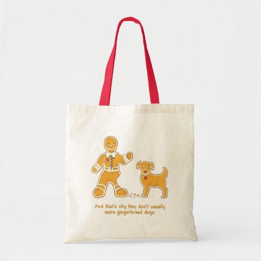 Funny Gingerbread Man and Dog for Christmas Tote Bag