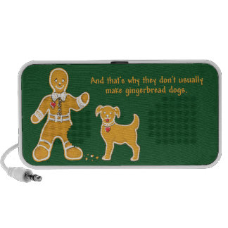 Funny Gingerbread Man and Dog for Christmas Travel Speaker