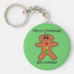Funny gingerbread man Christmas Basic Round Button Keychain