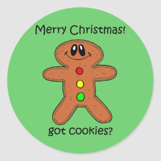Funny gingerbread man Christmas Classic Round Sticker