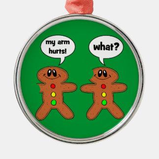 funny gingerbread man metal ornament
