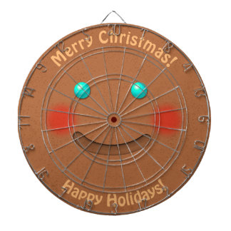 Funny Gingerbread Man With Rosy Cheeks Dart Board