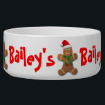 """Funny Gingerbread Man with Santa Hat Bowl<br><div class=""""desc"""">Customize this funny gingerbread man wearing a red Santa Claus hat and a green scarf around his neck! Replace the text with your pet&#39;s name. Surprise someone furry this holiday season with a nice Christmas gift! :)</div>"""