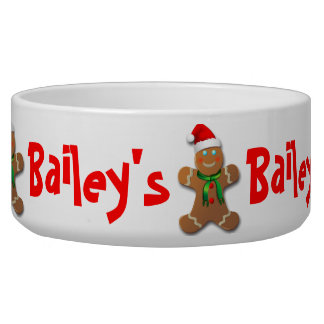 Funny Gingerbread Man with Santa Hat Bowl