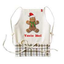 Funny Gingerbread Man with Santa Hat Zazzle HEART Apron