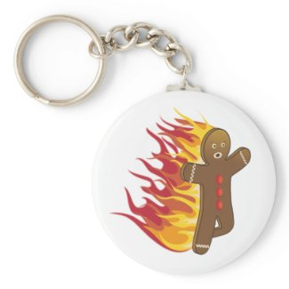 Funny Gingerbreadman on fire zazzle_keychain