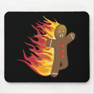 Funny Gingerbreadman on fire Mouse Pad