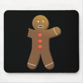 Funny Gingerbreadman with half eaten arm Mouse Pad