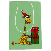 Funny Giraffe and Gift Christmas Gift Bag