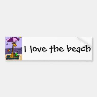 Funny Giraffe at the Beach Bumper Sticker