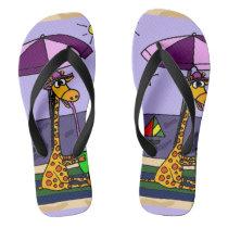 Funny Giraffe at the Beach Flip Flops