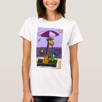 Funny Giraffe at the Beach T-Shirt