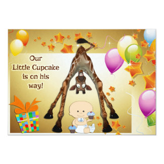 Funny Giraffe, Baby Boy and Cupcakes Baby Shower 5x7 Paper Invitation Card