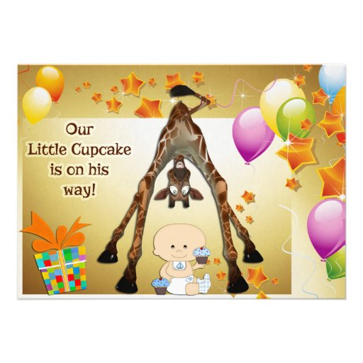 funny giraffe baby boy and cupcakes baby shower 5x7 paper invitation