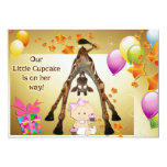 Funny Giraffe, Baby Girl and Cupcakes Baby Shower 5x7 Paper Invitation Card