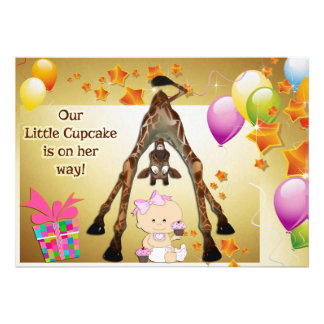 Funny Giraffe Baby Girl and Cupcakes Baby Shower Invite