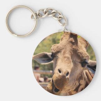 Funny giraffe basic round button keychain