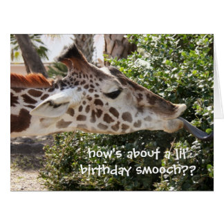Funny Giraffe Birthday Card, birthday smooch!! Card