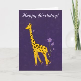 Funny Giraffe Birthday Violet Customizable Birthday Card zazzle_card