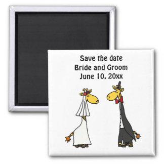 Funny Giraffe Bride and Groom Wedding Art 2 Inch Square Magnet