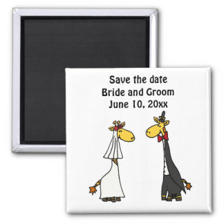 Funny Giraffe Bride and Groom Wedding Art 2 Inch Square Magnet