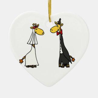 Funny Giraffe Bride and Groom Wedding Cartoon Ceramic Ornament