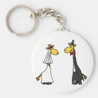 Funny Giraffe Bride and Groom Wedding Cartoon Keychain
