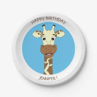 Funny giraffe cartoon birthday kids name plate
