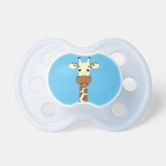 Funny giraffe cartoon blue baby pacifier