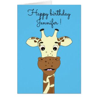 Funny giraffe cartoon blue kids birthday card