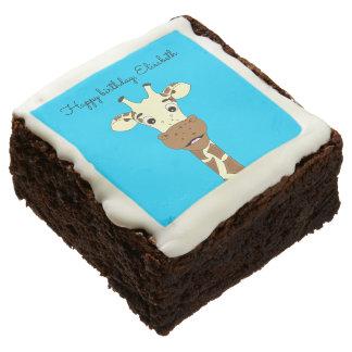 Funny giraffe cartoon blue kids name birthday brownie