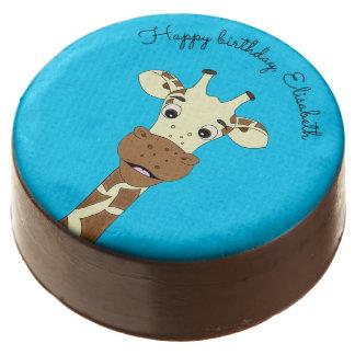 Funny giraffe cartoon blue kids name birthday chocolate covered oreo