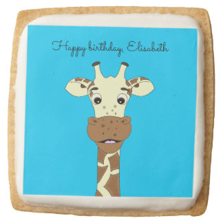 Funny giraffe cartoon blue kids name birthday square shortbread cookie