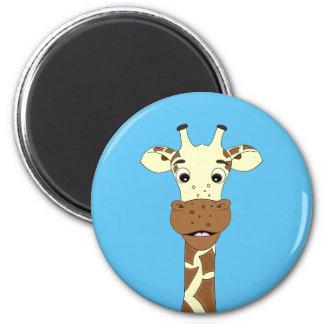Funny giraffe cartoon blue magnet