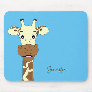 Funny giraffe cartoon blue name kids mousepad