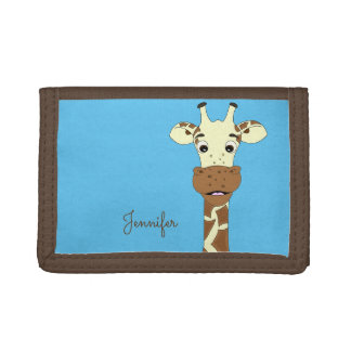 Funny giraffe cartoon blue name kids wallet