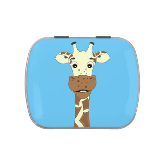 Funny giraffe cartoon kids candy tins