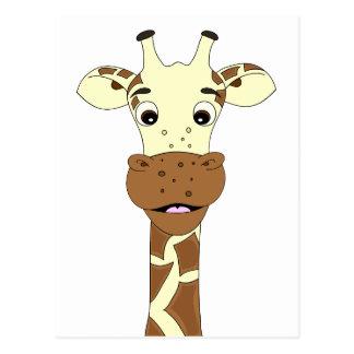 Funny giraffe cartoon kids postcard