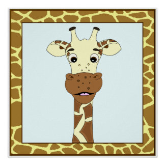 Funny giraffe cartoon kids poster