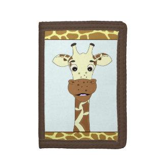 Funny giraffe cartoon kids tri-fold wallet