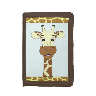 Funny giraffe cartoon kids tri-fold wallets