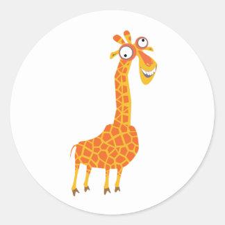 Funny Giraffe Classic Round Sticker