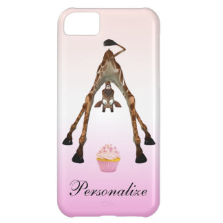 Funny Giraffe & Cupcake Personalized iPhone 5 Cover For iPhone 5C